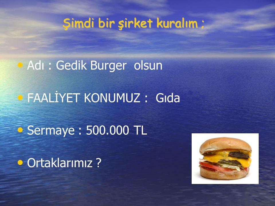 Şimdi bir şirket kuralım ; Adı : Gedik Burger olsun FAALİYET KONUMUZ : Gıda Sermaye : 500.000 TL Ortaklarımız ?