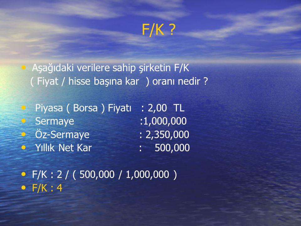 Aşağıdaki verilere sahip şirketin F/K ( Fiyat / hisse başına kar ) oranı nedir .