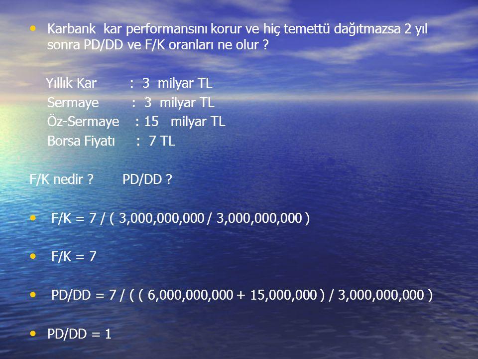 Karbank kar performansını korur ve hiç temettü dağıtmazsa 2 yıl sonra PD/DD ve F/K oranları ne olur .