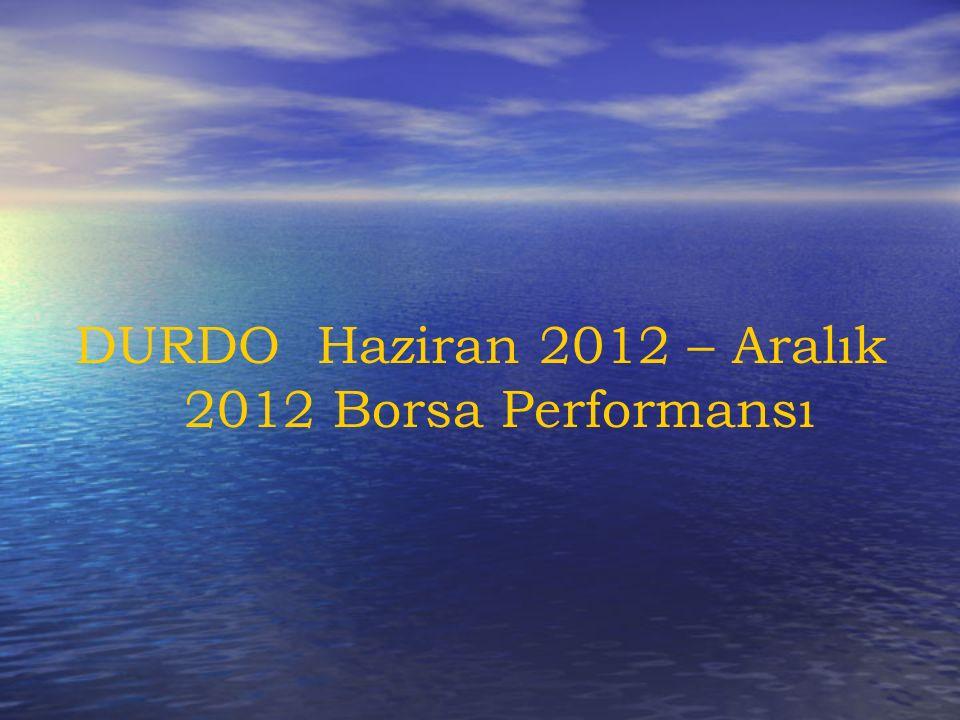 DURDO Haziran 2012 – Aralık 2012 Borsa Performansı