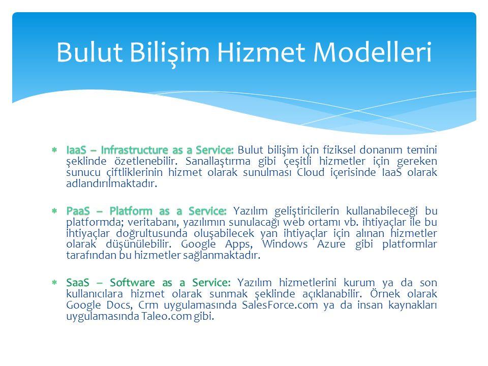 Bulut Bilişim Hizmet Modelleri