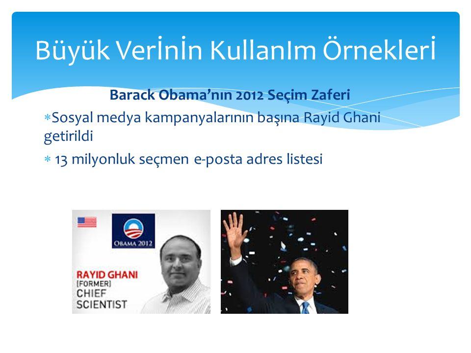 Büyük Verİnİn KullanIm Örneklerİ Barack Obama'nın 2012 Seçim Zaferi  Sosyal medya kampanyalarının başına Rayid Ghani getirildi  13 milyonluk seçmen