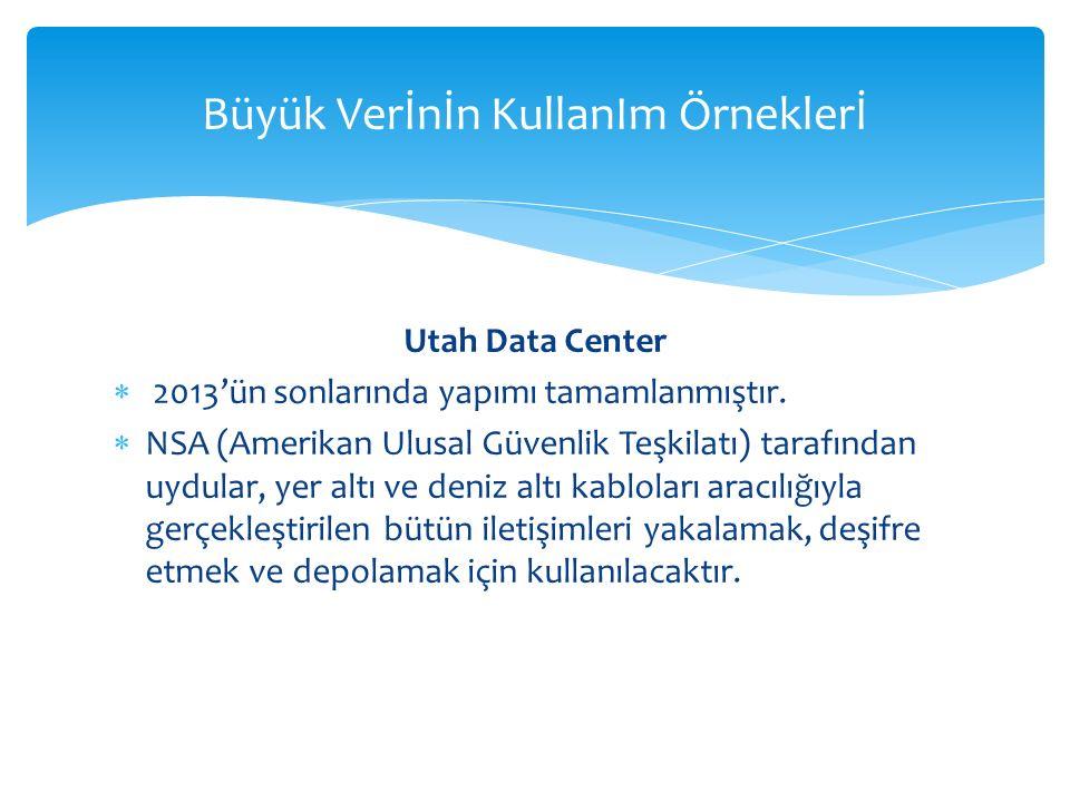 Büyük Verİnİn KullanIm Örneklerİ Utah Data Center  2013'ün sonlarında yapımı tamamlanmıştır.  NSA (Amerikan Ulusal Güvenlik Teşkilatı) tarafından uy