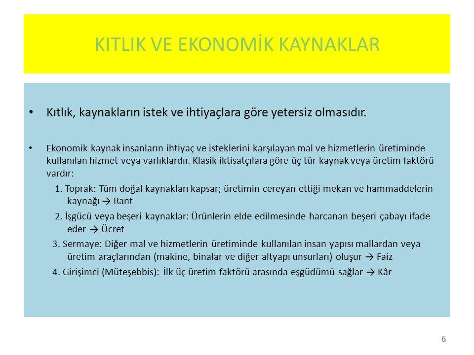 EKONOMİ BİLİMİ  Ekonomi bilimi çeşitli şekillerde tanımlanabilir: - Üretimin ve bölüşümün sosyal kanunlarını inceleyen bir bilimdir (Ricardo, David (