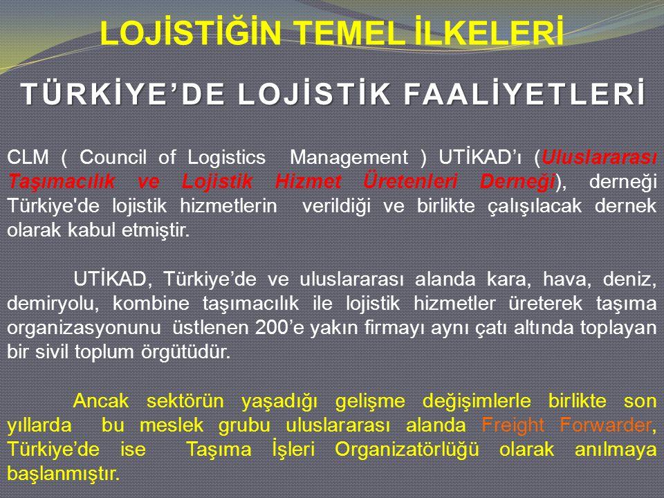 LOJİSTİĞİN TEMEL İLKELERİ CLM ( Council of Logistics Management ) UTİKAD'ı (Uluslararası Taşımacılık ve Lojistik Hizmet Üretenleri Derneği), derneği T