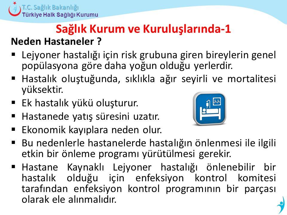 Türkiye Halk Sağlığı Kurumu T.C. Sağlık Bakanlığı Sağlık Kurum ve Kuruluşlarında-1 Neden Hastaneler ?  Lejyoner hastalığı için risk grubuna giren bir