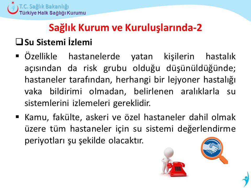 Türkiye Halk Sağlığı Kurumu T.C. Sağlık Bakanlığı Sağlık Kurum ve Kuruluşlarında-2  Su Sistemi İzlemi  Özellikle hastanelerde yatan kişilerin hastal