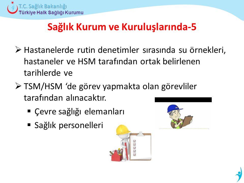 Türkiye Halk Sağlığı Kurumu T.C. Sağlık Bakanlığı Sağlık Kurum ve Kuruluşlarında-5  Hastanelerde rutin denetimler sırasında su örnekleri, hastaneler
