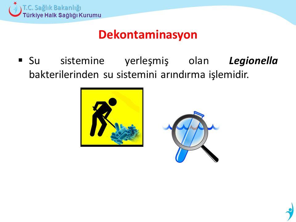 Türkiye Halk Sağlığı Kurumu T.C. Sağlık Bakanlığı Dekontaminasyon  Su sistemine yerleşmiş olan Legionella bakterilerinden su sistemini arındırma işle