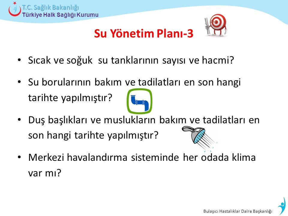 Bulaşıcı Hastalıklar Daire Başkanlığı Türkiye Halk Sağlığı Kurumu T.C. Sağlık Bakanlığı Su Yönetim Planı-3 Sıcak ve soğuk su tanklarının sayısı ve hac