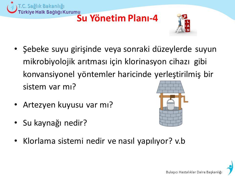 Bulaşıcı Hastalıklar Daire Başkanlığı Türkiye Halk Sağlığı Kurumu T.C. Sağlık Bakanlığı Su Yönetim Planı-4 Şebeke suyu girişinde veya sonraki düzeyler