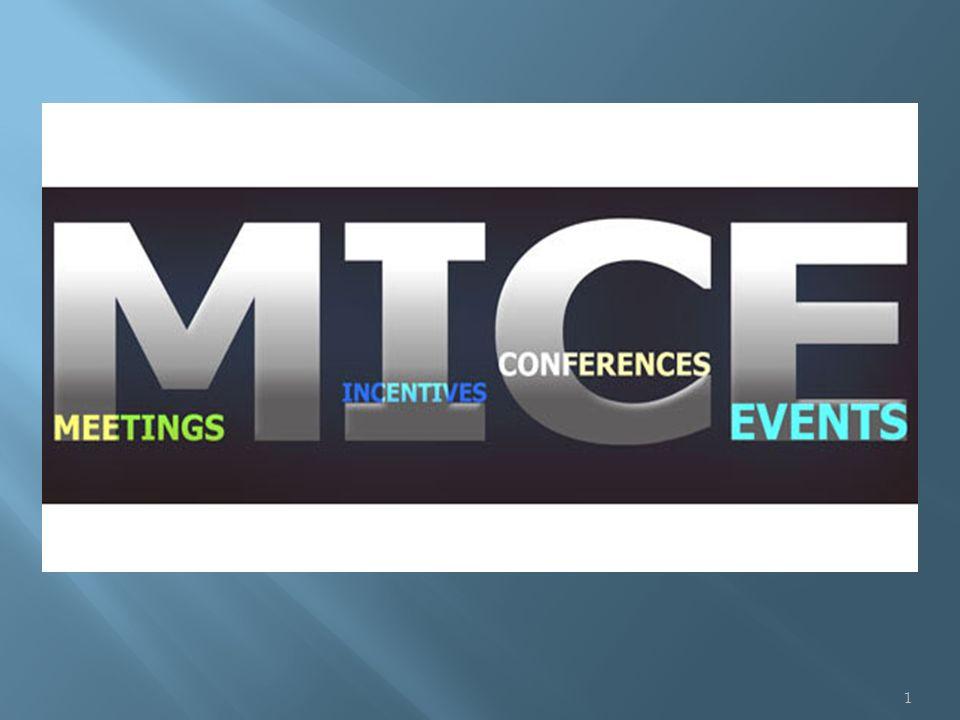M.I.C.E.Meetings (Toplantı) - Incentives (Teşvik Gezisi) - Congress (Kongre) - Exhibitions (Sergi) sözcüklerinin baş harflerinden oluşur ve tüm bu işleri bir arada yapan firmaları veya departmanları tanımlar 2