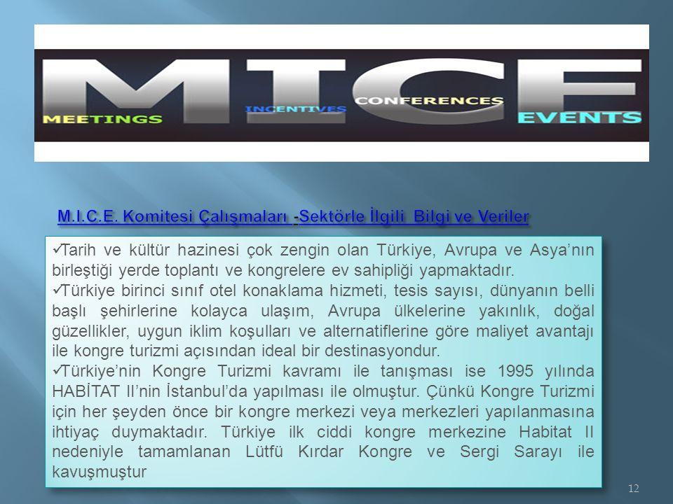 Tarih ve kültür hazinesi çok zengin olan Türkiye, Avrupa ve Asya'nın birleştiği yerde toplantı ve kongrelere ev sahipliği yapmaktadır.