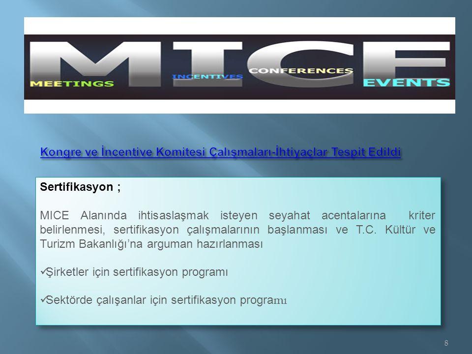 Sertifikasyon ; MICE Alanında ihtisaslaşmak isteyen seyahat acentalarına kriter belirlenmesi, sertifikasyon çalışmalarının başlanması ve T.C.