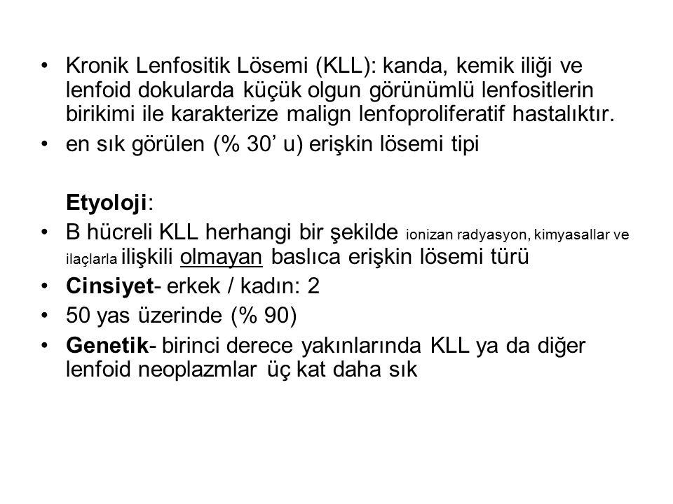 Kronik Lenfositik Lösemi (KLL): kanda, kemik iliği ve lenfoid dokularda küçük olgun görünümlü lenfositlerin birikimi ile karakterize malign lenfoproli