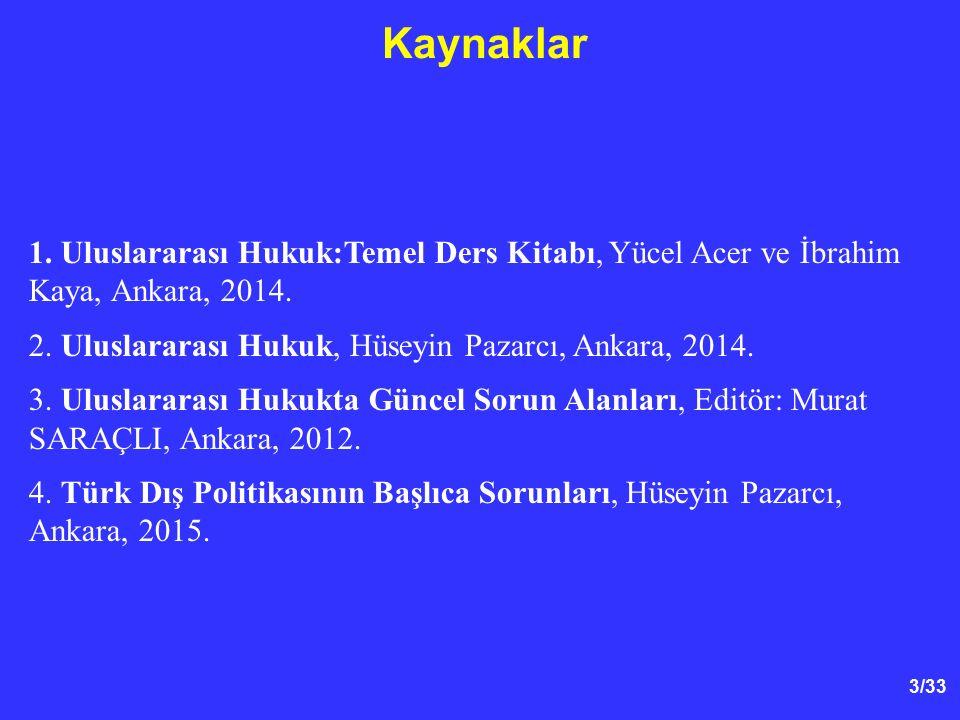 3/33 Kaynaklar 1. Uluslararası Hukuk:Temel Ders Kitabı, Yücel Acer ve İbrahim Kaya, Ankara, 2014.
