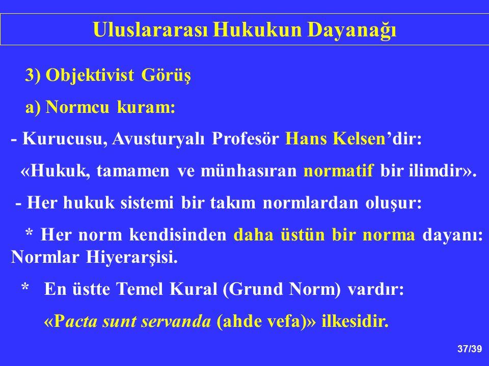37/39 3) Objektivist Görüş a) Normcu kuram: - Kurucusu, Avusturyalı Profesör Hans Kelsen'dir: «Hukuk, tamamen ve münhasıran normatif bir ilimdir».