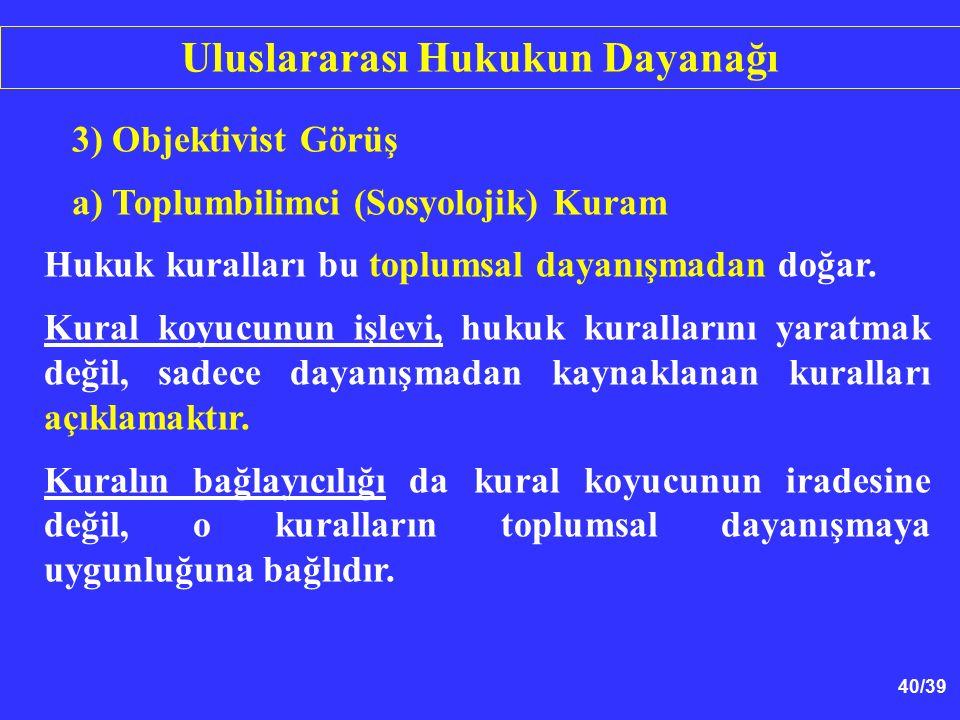 40/39 3) Objektivist Görüş a) Toplumbilimci (Sosyolojik) Kuram Hukuk kuralları bu toplumsal dayanışmadan doğar.