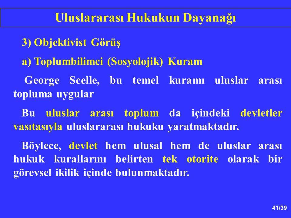 41/39 3) Objektivist Görüş a) Toplumbilimci (Sosyolojik) Kuram George Scelle, bu temel kuramı uluslar arası topluma uygular Bu uluslar arası toplum da içindeki devletler vasıtasıyla uluslararası hukuku yaratmaktadır.