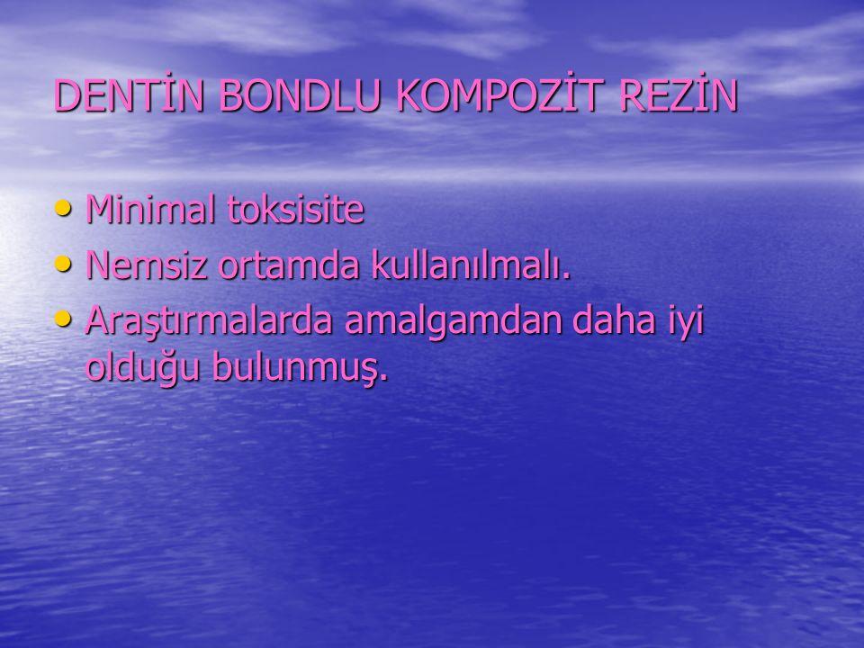 DENTİN BONDLU KOMPOZİT REZİN Minimal toksisite Minimal toksisite Nemsiz ortamda kullanılmalı.