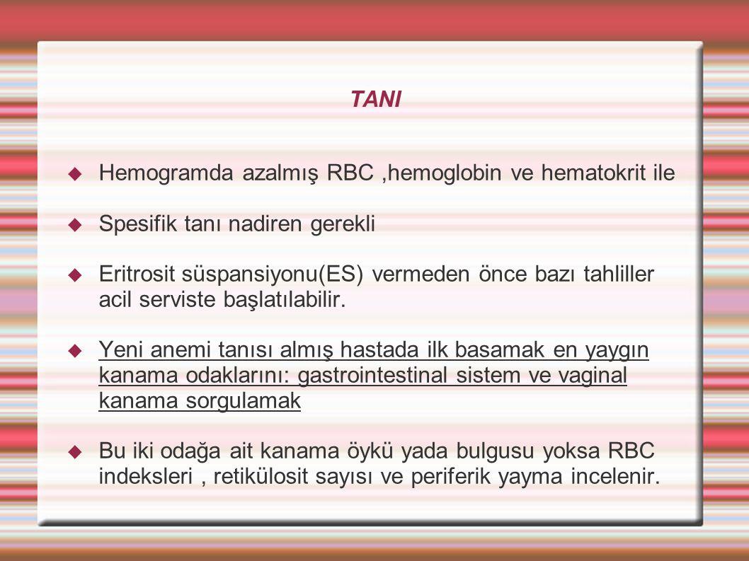 TANI  Hemogramda azalmış RBC,hemoglobin ve hematokrit ile  Spesifik tanı nadiren gerekli  Eritrosit süspansiyonu(ES) vermeden önce bazı tahliller acil serviste başlatılabilir.