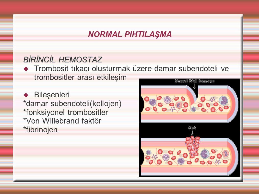 NORMAL PIHTILAŞMA BİRİNCİL HEMOSTAZ  Trombosit tıkacı olusturmak üzere damar subendoteli ve trombositler arası etkileşim  Bileşenleri *damar subendoteli(kollojen) *fonksiyonel trombositler *Von Willebrand faktör *fibrinojen