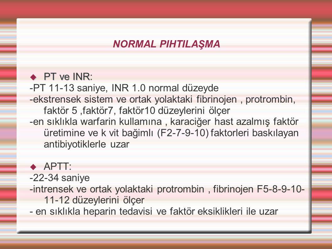 NORMAL PIHTILAŞMA  PT ve INR  PT ve INR: -PT 11-13 saniye, INR 1.0 normal düzeyde -ekstrensek sistem ve ortak yolaktaki fibrinojen, protrombin, faktör 5,faktör7, faktör10 düzeylerini ölçer -en sıklıkla warfarin kullamına, karaciğer hast azalmış faktör üretimine ve k vit bağimlı (F2-7-9-10) faktorleri baskılayan antibiyotiklerle uzar  APTT: -22-34 saniye -intrensek ve ortak yolaktaki protrombin, fibrinojen F5-8-9-10- 11-12 düzeylerini ölçer - en sıklıkla heparin tedavisi ve faktör eksiklikleri ile uzar