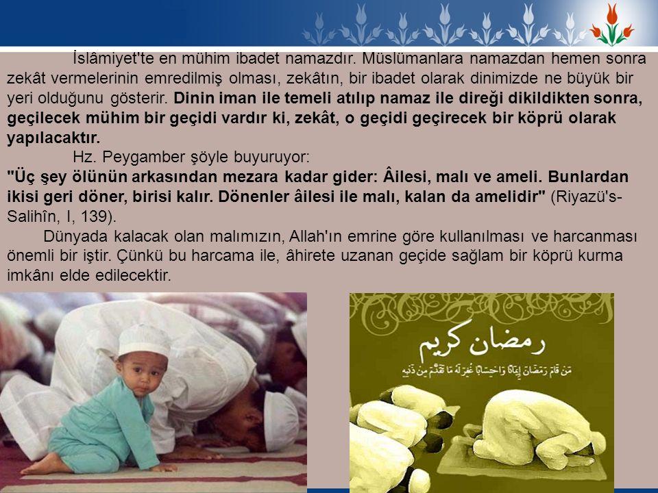 İslâmiyet'te en mühim ibadet namazdır. Müslümanlara namazdan hemen sonra zekât vermelerinin emredilmiş olması, zekâtın, bir ibadet olarak dinimizde ne