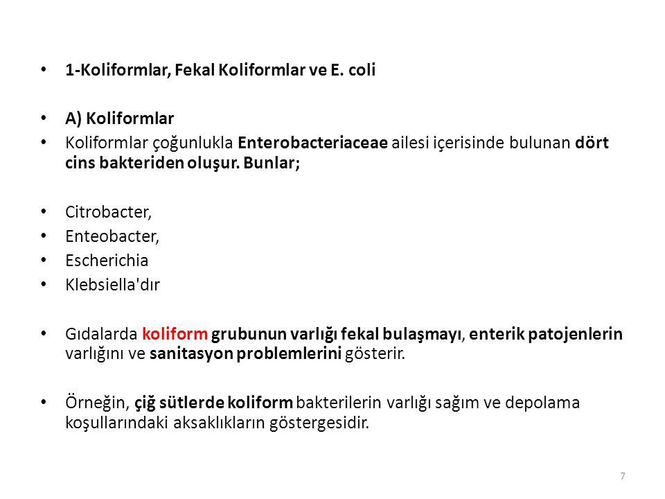 B) Fekal Koliformlar Çoğunlukla E.coli tip 1 den oluşmaktadır.