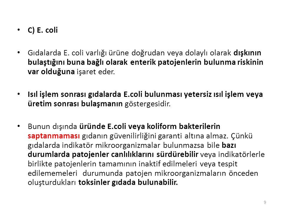 C) E. coli Gıdalarda E. coli varlığı ürüne doğrudan veya dolaylı olarak dışkının bulaştığını buna bağlı olarak enterik patojenlerin bulunma riskinin v