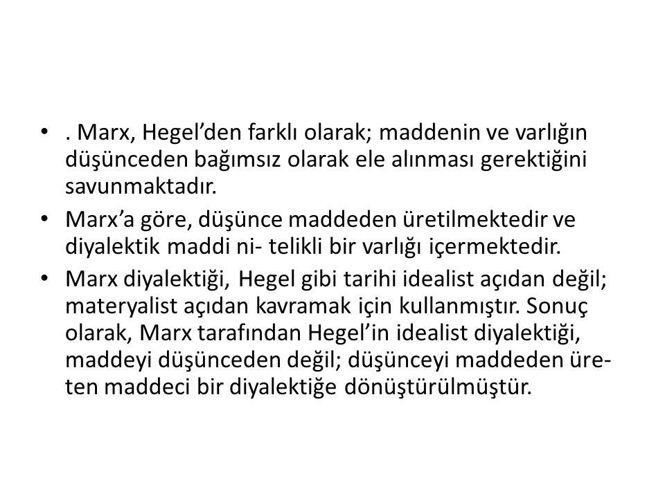 . Marx, Hegel'den farklı olarak; maddenin ve varlığın düşünceden bağımsız olarak ele alınması gerektiğini savunmaktadır. Marx'a göre, düşünce maddeden