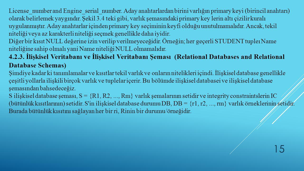 15 License_number and Engine_serial_number. Aday anahtarlardan birini varlığın primary keyi (birincil anahtarı) olarak belirlemek yaygındır. Şekil 3.4