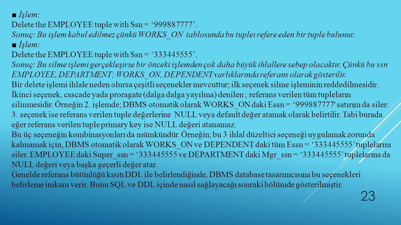 23 ■ İşlem: Delete the EMPLOYEE tuple with Ssn = '999887777'. Sonuç: Bu işlem kabul edilmez çünkü WORKS_ON tablosunda bu tupleı refere eden bir tuple