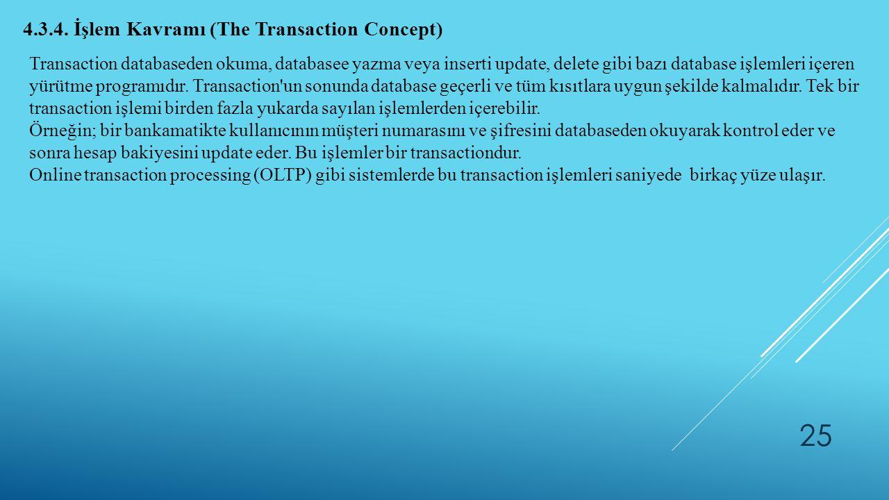 25 4.3.4. İşlem Kavramı (The Transaction Concept) Transaction databaseden okuma, databasee yazma veya inserti update, delete gibi bazı database işleml