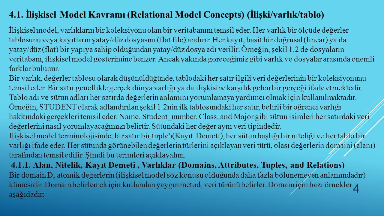 4 4.1. İlişkisel Model Kavramı (Relational Model Concepts) (İlişki/varlık/tablo) İlişkisel model, varlıkların bir koleksiyonu olan bir veritabanını te