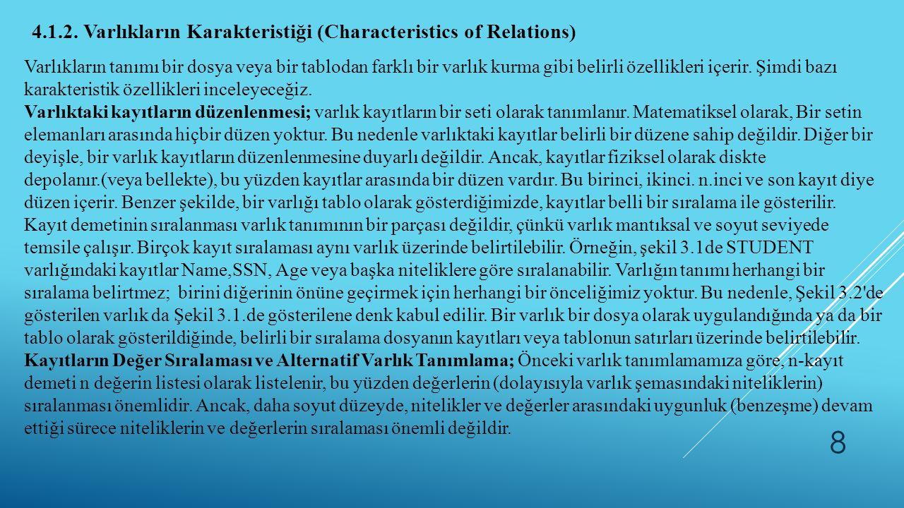 8 4.1.2. Varlıkların Karakteristiği (Characteristics of Relations) Varlıkların tanımı bir dosya veya bir tablodan farklı bir varlık kurma gibi belirli
