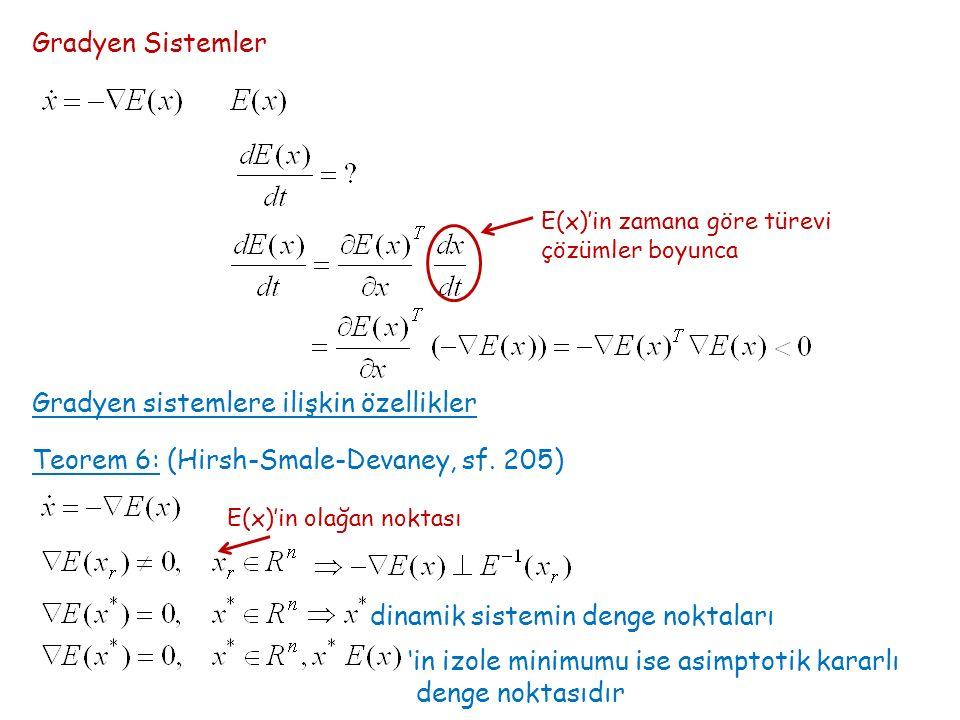 Gradyen Sistemler E(x)'in zamana göre türevi çözümler boyunca Gradyen sistemlere ilişkin özellikler Teorem 6: (Hirsh-Smale-Devaney, sf. 205) E(x)'in o