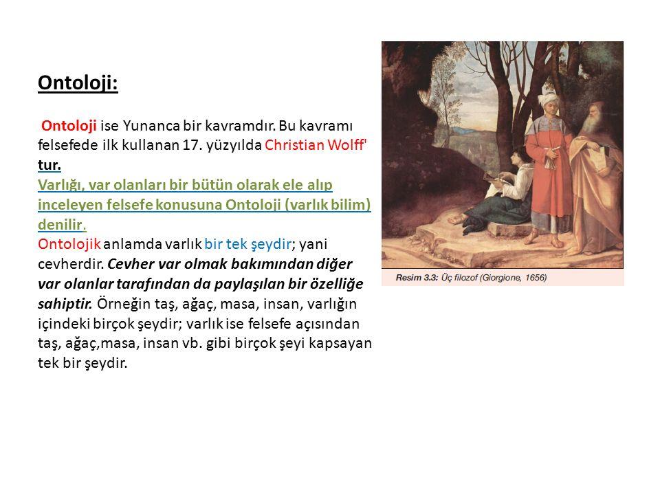 Ontoloji: Ontoloji ise Yunanca bir kavramdır. Bu kavramı felsefede ilk kullanan 17. yüzyılda Christian Wolff' tur. Varlığı, var olanları bir bütün ola