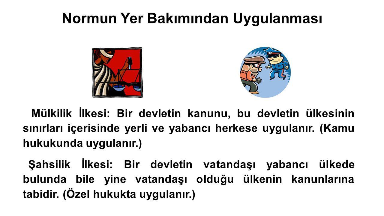 27/27 Normun Yer Bakımından Uygulanması  Mülkilik İlkesi: Bir devletin kanunu, bu devletin ülkesinin sınırları içerisinde yerli ve yabancı herkese uygulanır.