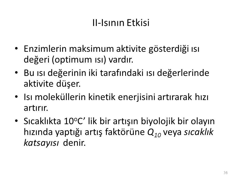 II-Isının Etkisi Enzimlerin maksimum aktivite gösterdiği ısı değeri (optimum ısı) vardır. Bu ısı değerinin iki tarafındaki ısı değerlerinde aktivite d
