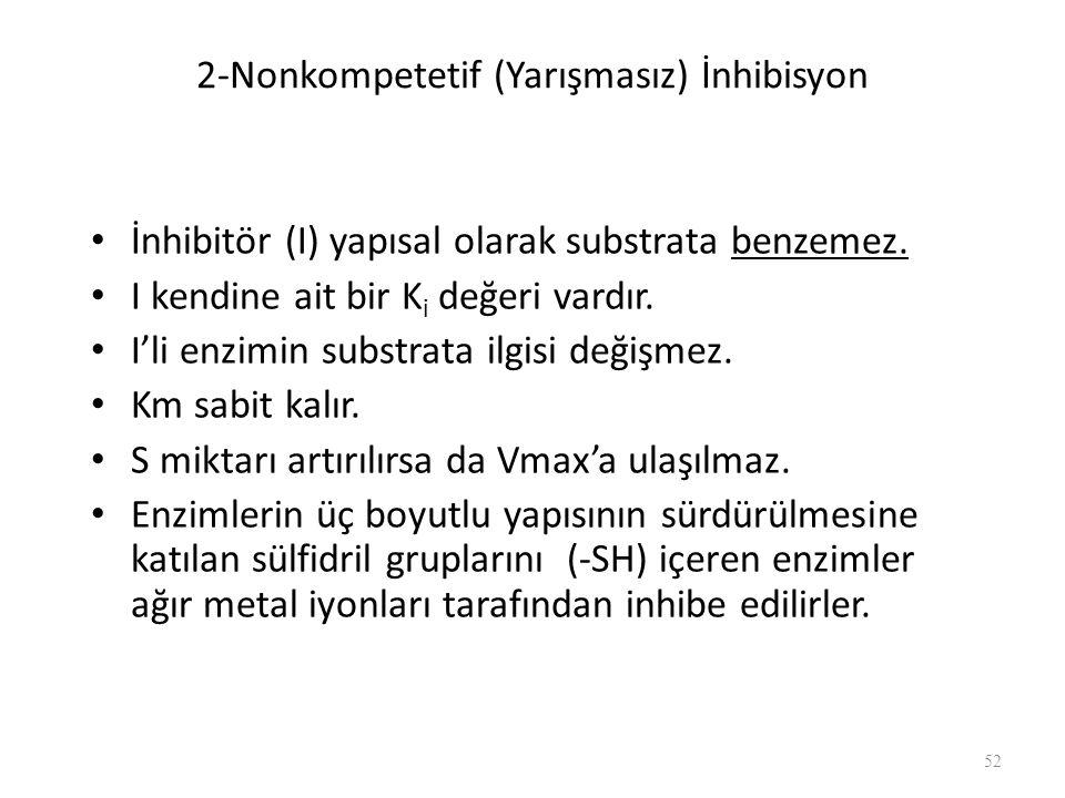 2-Nonkompetetif (Yarışmasız) İnhibisyon İnhibitör (I) yapısal olarak substrata benzemez. I kendine ait bir K i değeri vardır. I'li enzimin substrata i