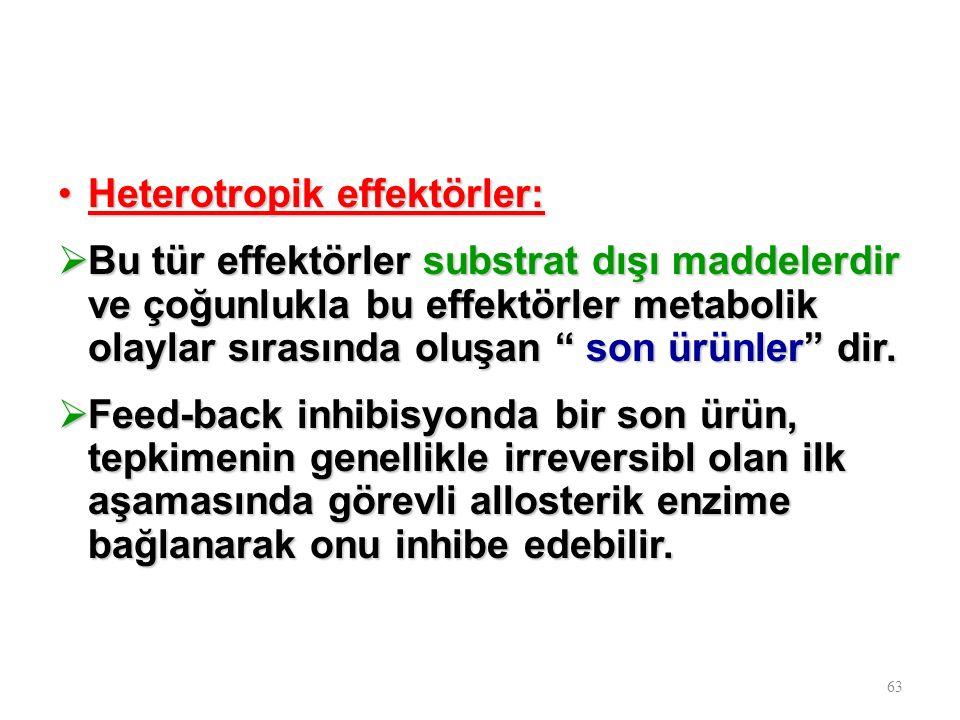 Heterotropik effektörler:Heterotropik effektörler:  Bu tür effektörler substrat dışı maddelerdir ve çoğunlukla bu effektörler metabolik olaylar sıras