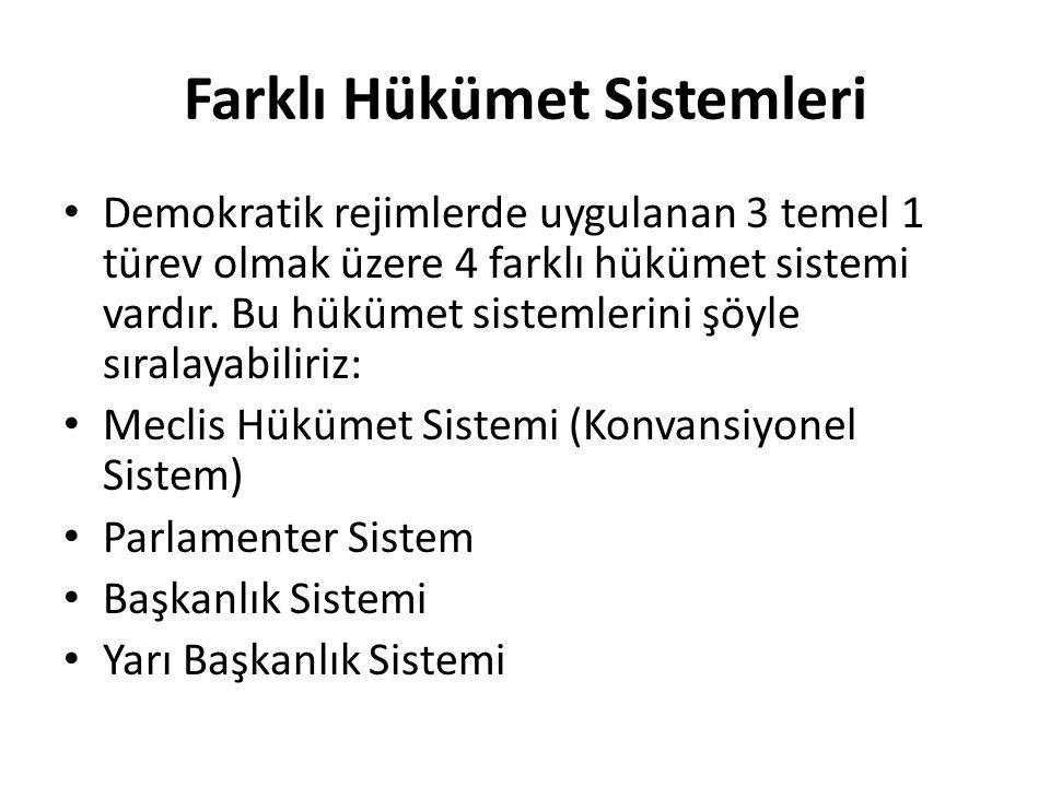 Farklı Hükümet Sistemleri Demokratik rejimlerde uygulanan 3 temel 1 türev olmak üzere 4 farklı hükümet sistemi vardır. Bu hükümet sistemlerini şöyle s