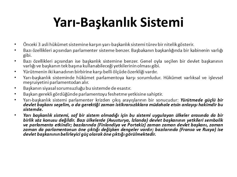 Yarı-Başkanlık Sistemi Önceki 3 asli hükümet sistemine karşın yarı-başkanlık sistemi türev bir nitelik gösterir. Bazı özellikleri açısından parlamente