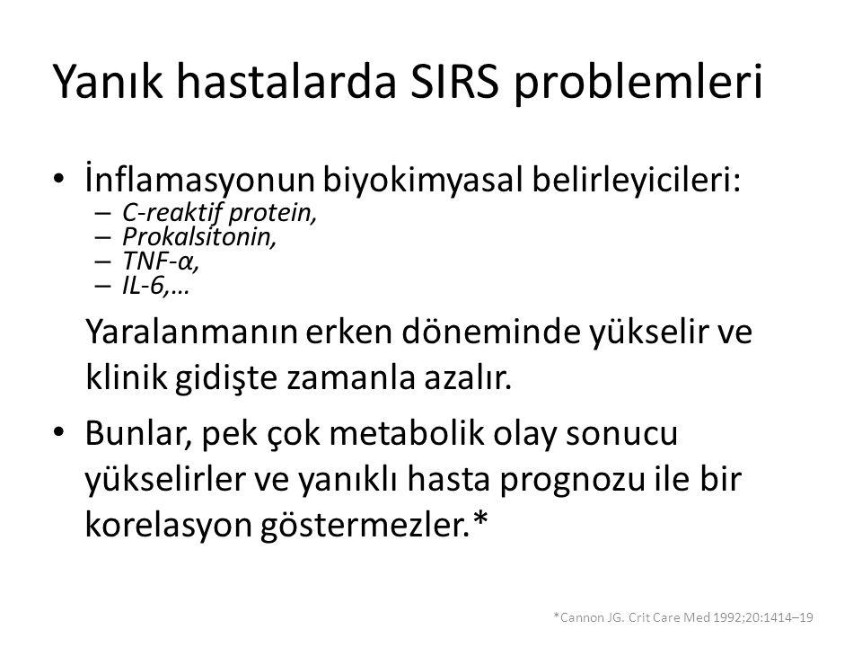 Yanık hastalarda SIRS problemleri İnflamasyonun biyokimyasal belirleyicileri: – C-reaktif protein, – Prokalsitonin, – TNF-α, – IL-6,… Yaralanmanın erk