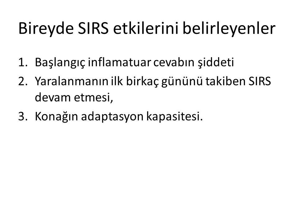 Bireyde SIRS etkilerini belirleyenler 1.Başlangıç inflamatuar cevabın şiddeti 2.Yaralanmanın ilk birkaç gününü takiben SIRS devam etmesi, 3.Konağın ad