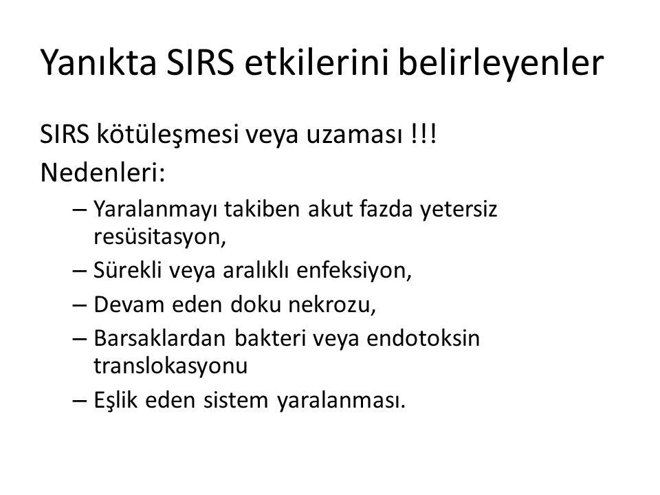 Yanıkta SIRS etkilerini belirleyenler SIRS kötüleşmesi veya uzaması !!! Nedenleri: – Yaralanmayı takiben akut fazda yetersiz resüsitasyon, – Sürekli v