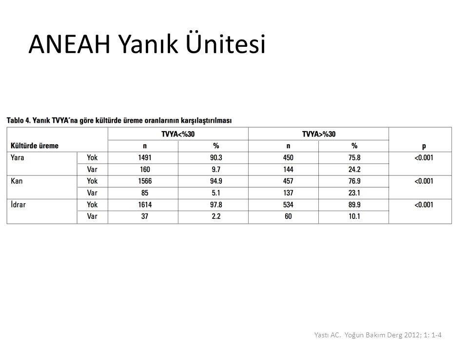 ANEAH Yanık Ünitesi Yastı AC. Yoğun Bakım Derg 2012; 1: 1-4