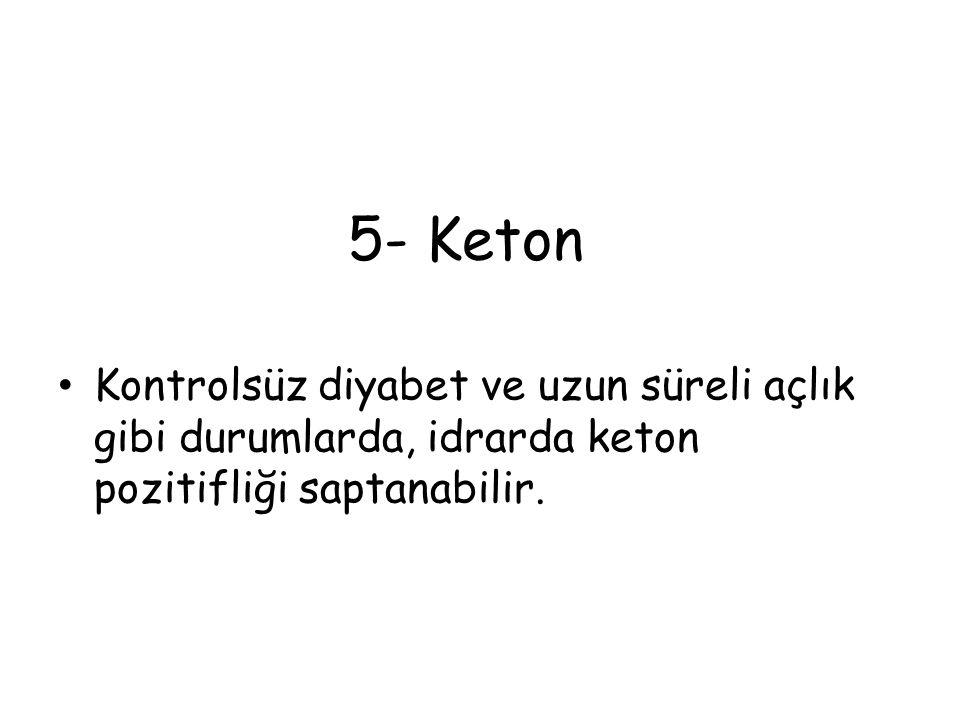 5- Keton Kontrolsüz diyabet ve uzun süreli açlık gibi durumlarda, idrarda keton pozitifliği saptanabilir.
