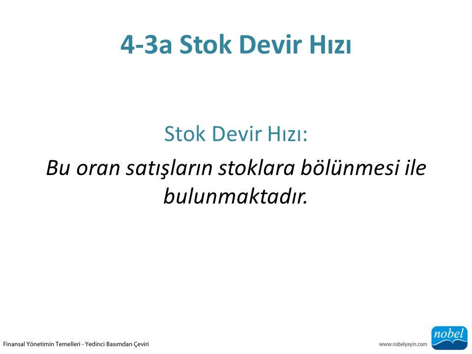 4-3a Stok Devir Hızı Stok Devir Hızı: Bu oran satışların stoklara bölünmesi ile bulunmaktadır.